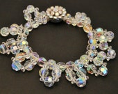Vintage bracelet. Crystal bead bracelet. Aurora borealis