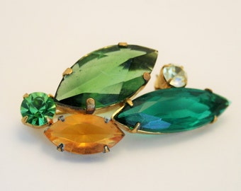 Vintage brooch. Green and yellow glass brooch.  Multi colour brooch