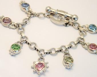 Vintage bracelet. Crystal charm bracelet