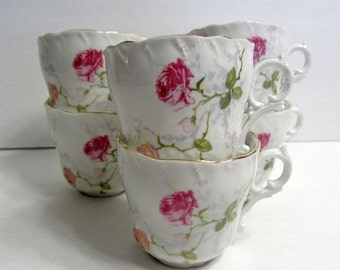 6 Shabby Cottage Chic Antique Porcelain Rose Teacups CT Germany /Very Pretty