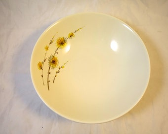 Vintage Serving Bowl Steubenville China Summertime Pattern 8 3/4 inch Diameter 1950's Mid Century Modern China Yellow Grey Flowers