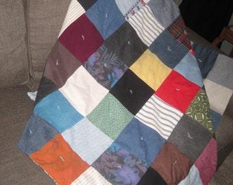 Vintage Handmade Multi Colored Patchwork Baby Quilt-Denim Scrap Quilt Blanket-Vintage Baby Nursery-Sm. Vintage Lap Quilt-Rustic Farmhouse