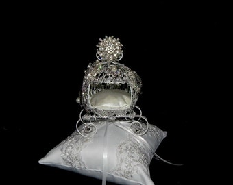 Fairy tale Cinderella carriage  ring bearer pillow cake topper centerpiec themed Bridal. shower, birthday, Quinceanera. sweet 16