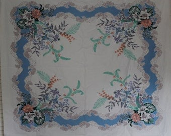 Vintage Floral Table Cloth Retro Fabric Flower Print Tablecloth Linen