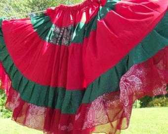Gypsy skirt, tribal belly dance skirt, belly dance skirt, boho skirt, 18 yard skirt, red and green skirt