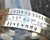 Custom Cuff Bangle Bracelet Personalized Jewelry Sterling Silver For Her Date Childrens' Names Coordinate Inspirational Phrase Scripture