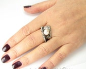 White Pearl Ring, 925 Silver Ring, Solitaire Ring, Birthday Gift, Pearl Band, Statement Ring Size 5
