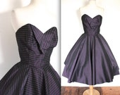 SALE Vintage 1950's Dress // 50s Purple Striped Taffeta Strapless Cocktail Party Dress // Stardust // DIVINE