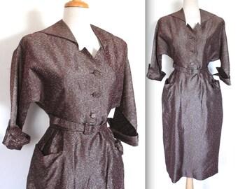 Vintage 1950's Dress // 50s Metallic Striped Taffeta Dress // Evening Glamour // DIVINE