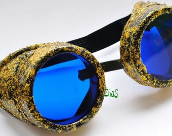 Steampunk Cyber Goggles Glasses Cosplay Anime Larp Rave Sheen