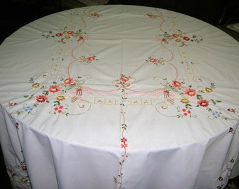 Vintage Cotton Colorfully Embroidered Scalloped Stitched Hem Tablecloth 100 x 68