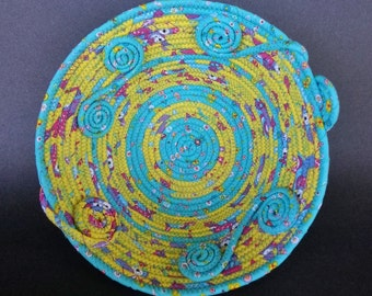 Summer Swirll, coiled fabric basket