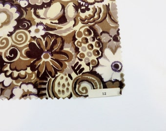 Vintage Fabric / 1920s Fabric 1930s Fabric Brown Floral / Silk Fabric Sample