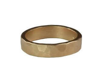 Unisex 4mm Wedding Band in Recycled 14k Rose or Yellow Gold
