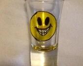 Shot Glass, Hand Painted, Vintage Smiley Face Swarovski Crystal Big Smile