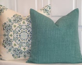 DOUBLE SIDED -  Decorative Pillow Cover - TEAL - Accent Pillow - Lumbar Or Square - Sofa Pillow