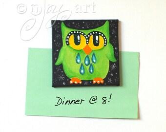 Green Owl Magnet, Miniature Acrylic Art, Miniature Painting, 3x3 inch magnet