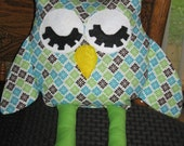 Handmade Stuffed Owl Toy Sits up and Softly Stuffed Legs and Head, Felt Face, Features Sewn, Polyester Filling, Children