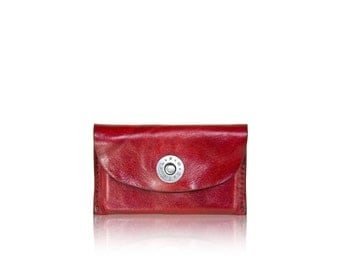 Credit Card SLOWDESIGN leather pocket - - RED