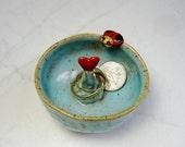 Ladybug Ring Holder - Trinket Bowl -  Red Heart - Ladybird - Aqua and Red - Lady Bug - Ring Bowl - Ring Holder - Wheel Thrown Pottery
