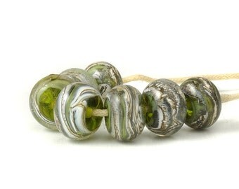 Lampwork Beads | Olive Green Glass Beads | Handmade Lampwork Glass Bead Set | Artisan Glass | UK SRA