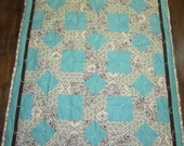 Brown and Turquoise Baby Quilt- 39x50""