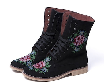 Urban boots Ankle Boots Flower embroidery Lace up Ankle Boots in black leather with flower embroidery Order your Custom size