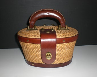 Vintage purse, wicker, Top handle,Lesco Lona,Leather Trim, Oval shaped,mini bag