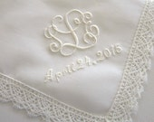 Ivory Color Cotton Lace Handkerchief with Interlocking Style 3-Initial Monogram and Date