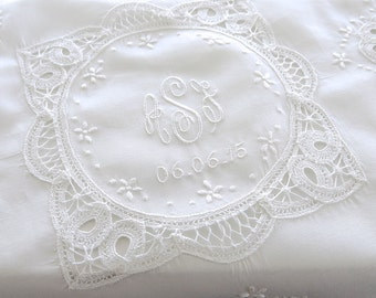 Battenberg Lace Wedding Handkerchief with 3-Initial Monogram