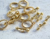 8pcs Clasp Gold Pewter Toggle 18mm Round Fancy Design Bar And Ring