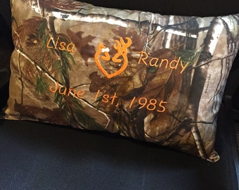 Hunting Camo Couples Anniversary Pillow