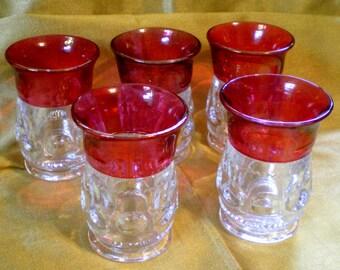 Vintage Kings Crown Ruby Flash Juice Glasses**5**