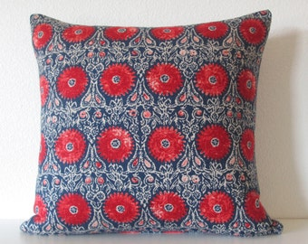 Duralee Riya Blend Red Blue suzani medallion decorative pillow cover