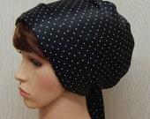 Satin Head Scarf, Black and White Polka Dot Head Wrap, Satin Head Covering, Jewish Women Hair Wrap, Silky Scrub Cap