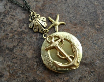 Ahoy Matey! Brass Anchor Locket, Brass Anchor Sea Lover's Locket