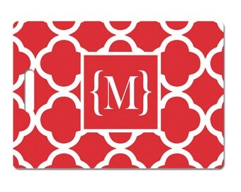 Personalized luggage tag monogramred clover pattern choose colors and text