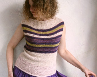 SALE 50% off Blush Plum - Terry T cotton tank top knit with easy to care for terrycloth yarn