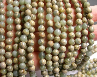 Impression Jasper -  6 mm round beads -1 full strand - 64 beads - A quality - RFG281