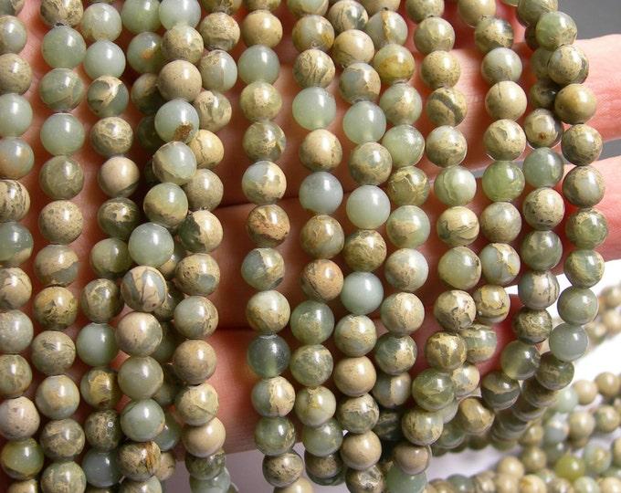 Impression Jasper -  6 mm round beads -1 full strand - 64 beads - A quality - RFG281