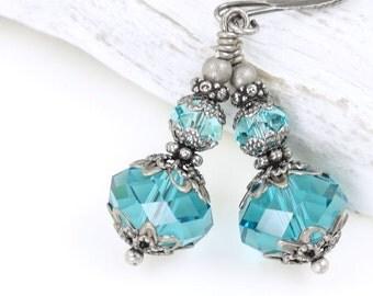Antique Silver Earrings Dangle Earrings Silver and Dark Teal Jewelry Summer Gift Sea Jewelry Romantic Earrings Vintage Inspired