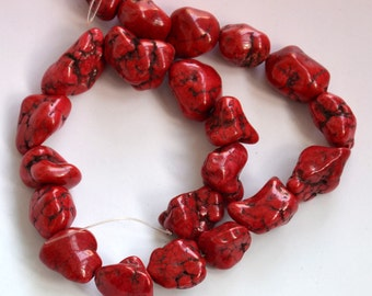 Single 13x18mm Red Turquoise nugget stone beads---turquoise nugget gemstone beads loose strand 15inch