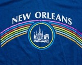 Vintage 80s New Orleans Rainbow T-Shirt, Louisiana, The Big Easy, LA