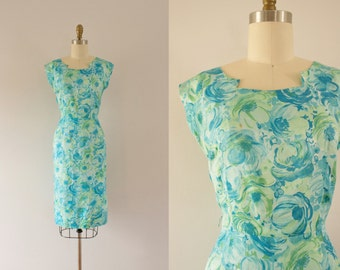 1960s Bora Bora aquatic hourglass dress / 60s silk bombshell