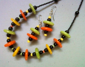Bright Orange, Green and Yellow Necklace and Earrings (0826)