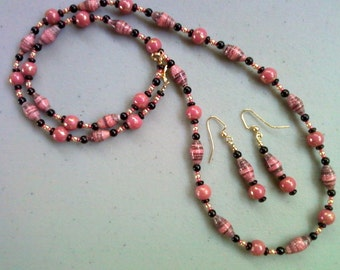 Pink and Black Necklace and Earrings (0089)