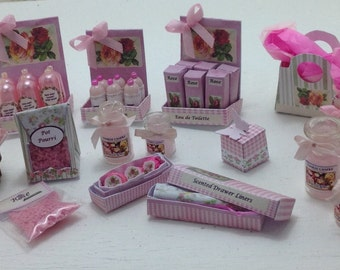 Dolls House Miniatures - 1/12th Rose Toiletries Collection
