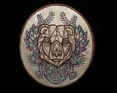Cowhide Leather Bear Iron on Patch