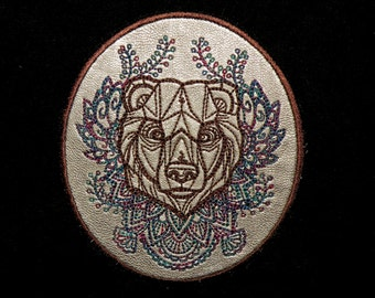 """Cowhide Leather Bear Iron on Patch 4""""  x  4.5"""""""