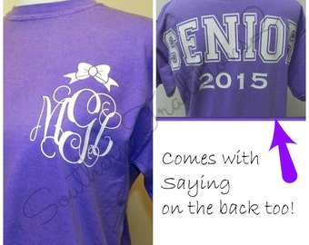 Senior Graduation Monogrammed Personalized Comfort Colors Spirit Jersey 44 tshirt colors to choose from Short Sleeved
